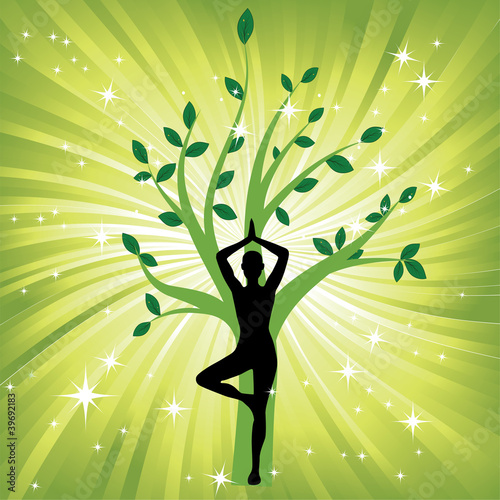 Woman in the yoga tree asana