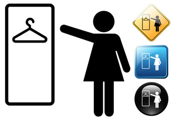 Wardrobe female pictogram and icons