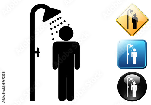 Male shower pictogram and icons