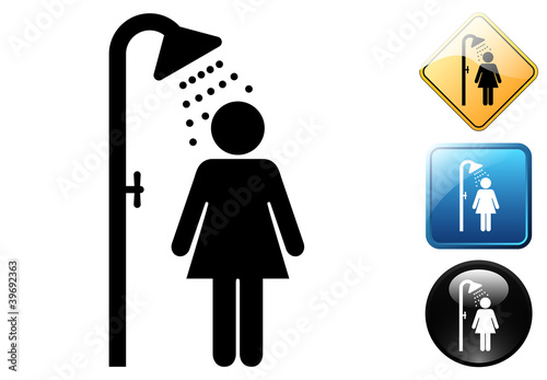 Female shower pictogram and icons