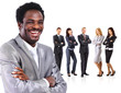 business man standing together with colleagues and smiling