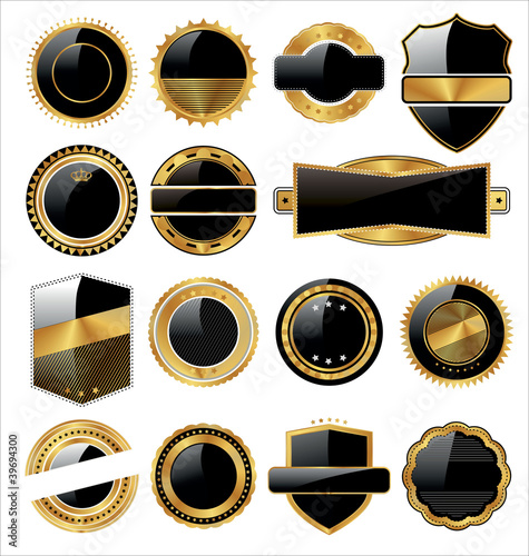 Vector set of black gold labels with place for text.