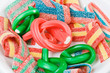 Multicolor gummy candy (licorice) sweets closeup food background