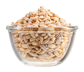 Pearl barley heap in small glass bowl, isolated on white