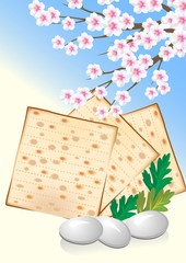Jewish celebrate pesah  with eggs, matzo and flowers