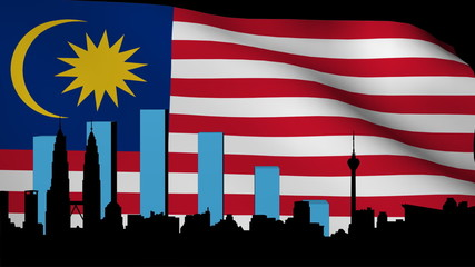 Kuala Lumpur skyline with graph and flag animation