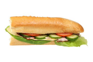 Long baguette sandwich with clipping path.