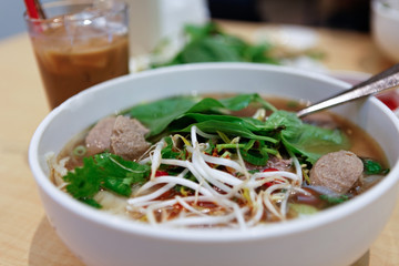 Vietnamese Beef Noodle Soup with Meatballs