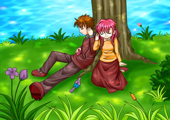 Cartoon illustration of a couple sitting under the tree