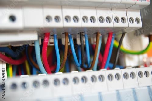 Leinwanddruck Bild détail de tableau électrique