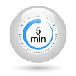 Leinwandbild Motiv Bouton icône minuterie - 5 minutes