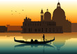 Silhouette illustration of people on gondola in Venice - 39699706
