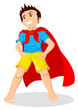 Cartoon illustration of a kid playing a superhero