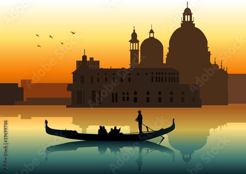 Silhouette illustration of people on gondola in Venice - 39699706