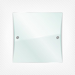 Transparent glass board on striped background