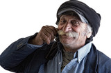 old lebanese man with hands on his mustache swearing poster