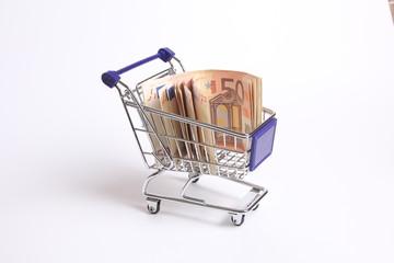 Shopping cart full of euro money