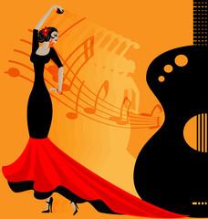 flamenko dancer in red-black