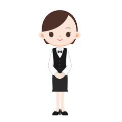 黒いベスト 蝶ネクタイの制服の女性店員