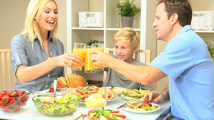 Young Caucasian Family Sharing Healthy Lunch