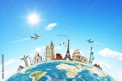 Travel the world monuments concept 2