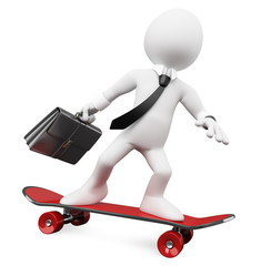 3D Businessman going to work on a skateboard