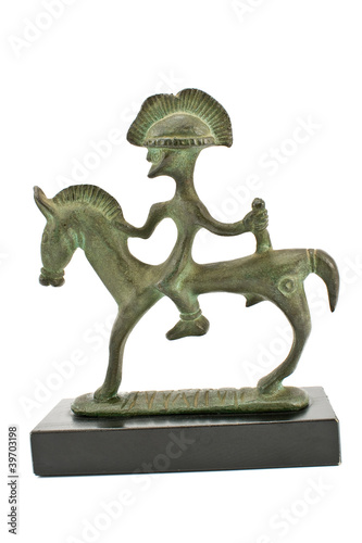 Etruscan bronze sculpture of warrior on horse