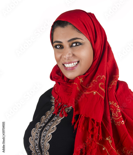 arabian islamic lady wearing hijab & smiling