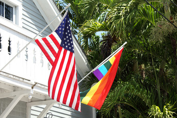 an image of rainbow and american flags