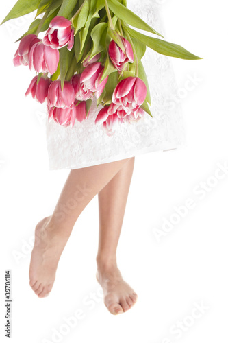 woman legs and flowers