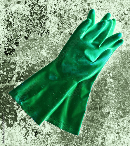 green rubber gloves