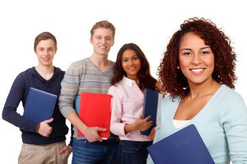 fröhliche studentengruppe