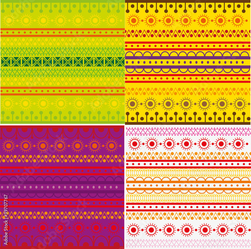 Set of ethnic pattern texture