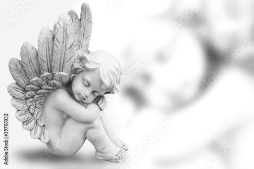 Träumender Engel freigestellt auf weiß - 39708332