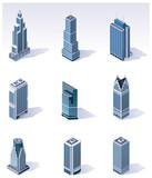 Fototapety Vector isometric buildings. Skyscrapers
