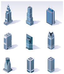 Vector isometric buildings. Skyscrapers