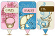 Bakery, tea and cakes labels