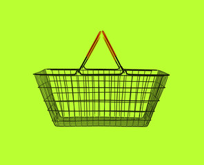 shopping basket on green