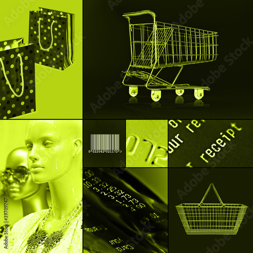 green shopping collage