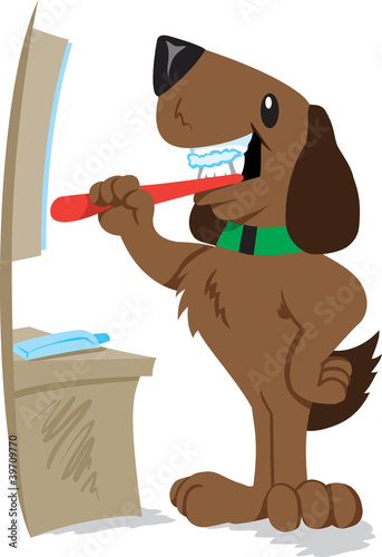 Dog brushing his teeth