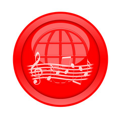 Music button isolated on white background