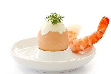 boiled egg and large shrimp