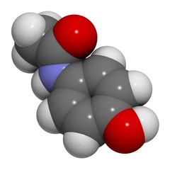 Paracetamol (acetaminophen): molecular structure (3D)