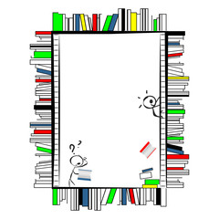 Funny cartoon frame, made of books like shelves in library