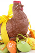 isolated chocolate easter hen