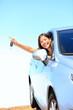 Car woman showing keys