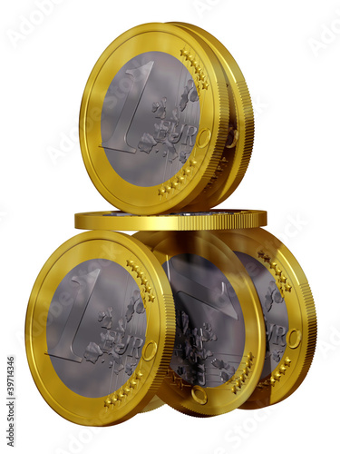 Euro Haus, House of cards from Euro coins