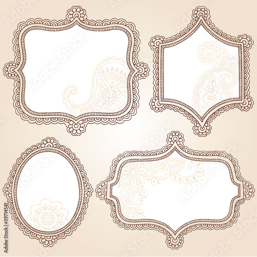 Henna Doodle Vintage Frames Vector Design Elements