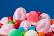 Candy assortment on blue background
