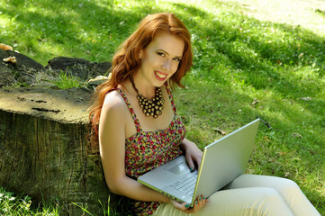 beauty, girl, laptop, mobile, outdoor, relax, young